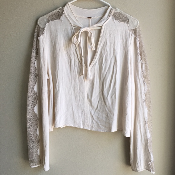 89cb0bf778928a Free People Tops - Free People Lace Insert Long Sleeve Tie Blouse S